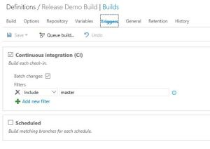 check the check box of continuous integration